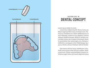 Layout cleaning the retainer in the glass with tablet illustration vector on blue background. Dental concept.