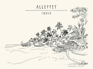 Alleppey Beach, Alappuzha, Kerala, South India. Retro travel drawing of a pristine beach, palm trees and boats. Tropical paradise landscape sketch. Vintage touristic postcard. Vector illustration
