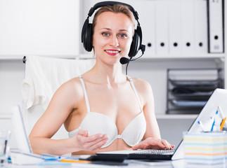 Female working in bra