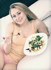 salad in bed