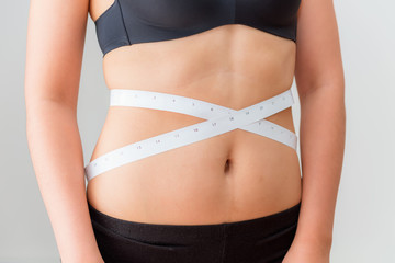 Portrait of woman using scale tape measuring waist, Healthy and diet concept