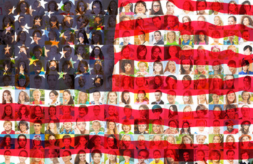 USA flag with portraits of American people