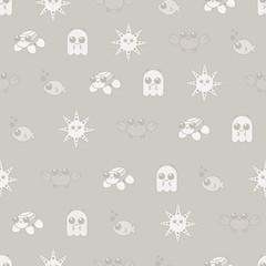 Seamless pattern marine Doodle vector set
