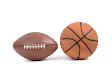 football and basketball isolated on a white background