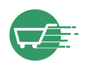fast trolley cart carry carriage image vector icon logo