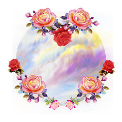 Painting  of roses flowers and sky cloud.