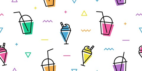 milkshake cup memphis colorful outline line art seamless pattern white background wallpaper download