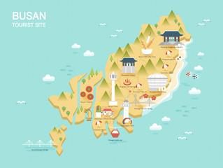 Illustration of vector flat design postcard with famous Korea landmarks icons on the map