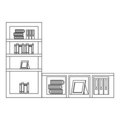shelf with books icon vector illustration design