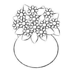 cute vase with flowers decorative vector illustration design