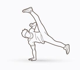 Street dance, B boys dance, Hip Hop Dancing action outline graphic vector