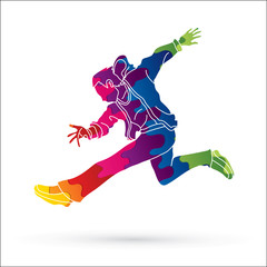 Street dance, B boys dance, Hip Hop Dancing action designed using colorful graphic vector