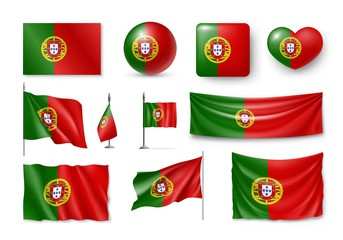 Set Portugal flags, banners, banners, symbols, flat icon. Vector illustration of collection of national symbols on various objects and state signs