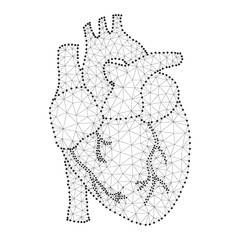 human heart polygon black-white