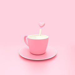 Hot milk pink cup on pink pastel background minimal concept