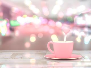 Milk pink cup love concept