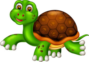 cute turtle cartoon walking with smiling and waving
