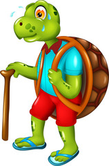 funny turtle cartoon walking with smile and bring stick