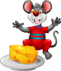 cute mouse cartoon sitting with eating cheese and waving
