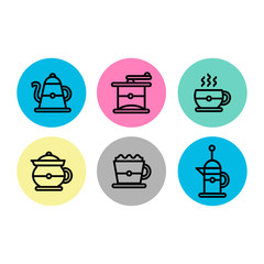 coffee brewing icon set