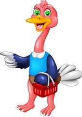 funny ostrich cartoon standing bring basket with smile and waving