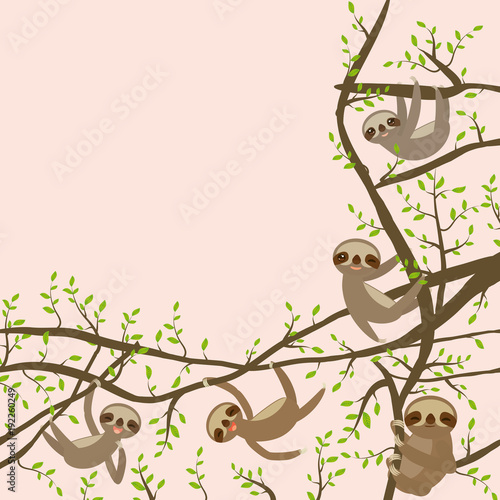 card banner template with funny and cute smiling three toed sloth