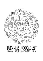 Business doodle illustration circle form on a4 paper wallpaper line sketch style eps10