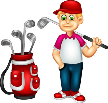 handsome golfer cartoon posing with laughing