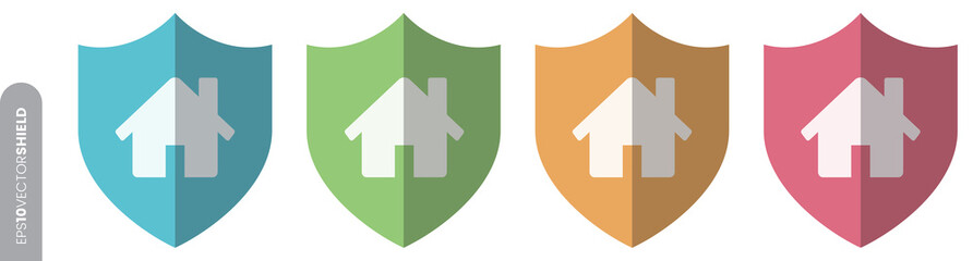 Shield Icon Set - Home