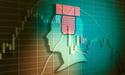 Forex candlestick pattern. Trading chart concept. Financial market chart. Human head silhouette. 3D rendering
