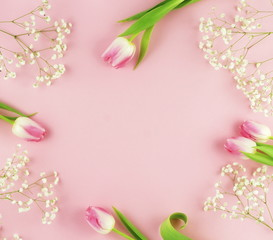 Frame of pink tulips and white flowers on a pale pink background.Holiday concept. Copy space. Top view