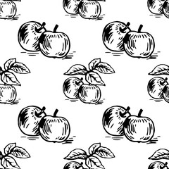 Vector colorful seamless pattern with apples on a branch. Perfect for apple cider, juice, wallpapers, surface textures, wrapping paper and more creative designs. Hand-drawn illustration.