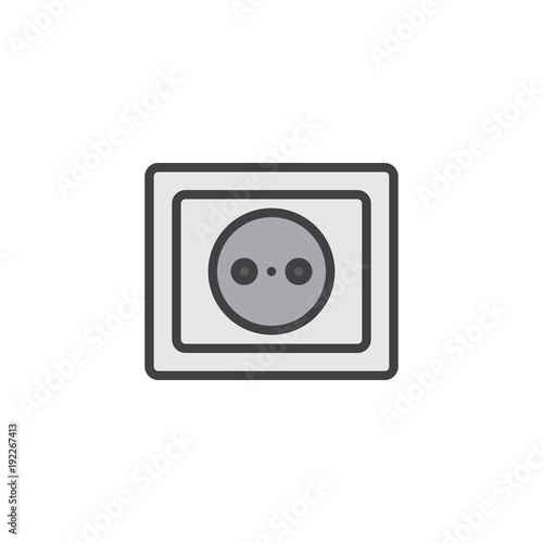Power Socket Filled Outline Icon Line Vector Sign Linear Colorful