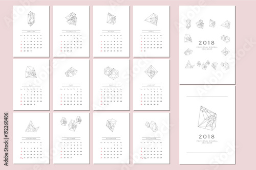 2018 Vector Calendar Template With Polygonal Graphic 2018 Simple