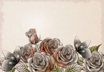 Retro roses decorative elements