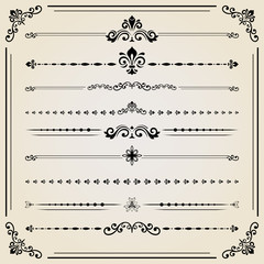 Vintage set of black decorative elements. Horizontal separators in the frame. Collection of different ornaments. Classic pattern. Set of vintage patterns