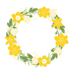 Spring wreath with tulips and daffodils. Vector illustration.