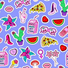 Seamless pattern with patches of lollipops, shoes, watermelons, pizza, sunglasses, hearts, mushrooms, high hill shoes, lips. Blue background in retro style.