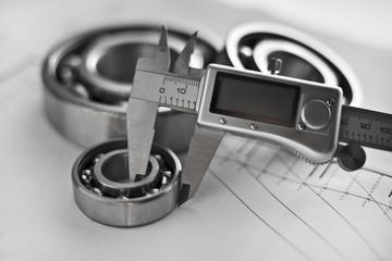 Diameter measurement with calipers, bearings,