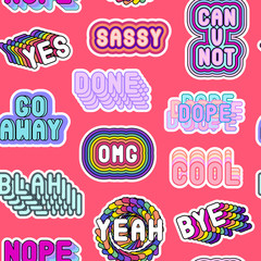 "Seamless pattern with sassy colorful phrases, words: ""Yes"", ""Go away"", ""Sassy"", ""OMG"", ""Nope"", ""Dope"", etc. Fashion patch badges, pins, stickers. Slang acronyms and abbreviations. Red background."