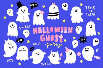 Vector Collection of Halloween Ghosts, Cute Halloween Day Decoration, Invitation, Greeting Card, Happy Halloween Party Backgrounds