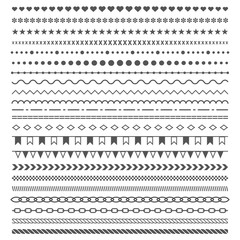 Geometric horizontal vintage fashion pattern.     Dividers vector set isolated on white background. Line border and text design element. Trendy styled ornaments.