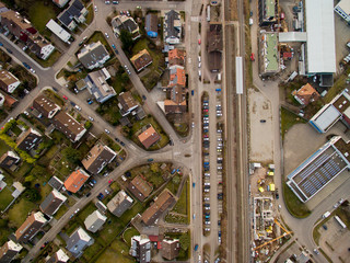 arial view of urban city and road with cars in Germany