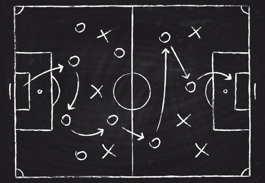Soccer game tactical scheme with football players and strategy arrows on chalk black board