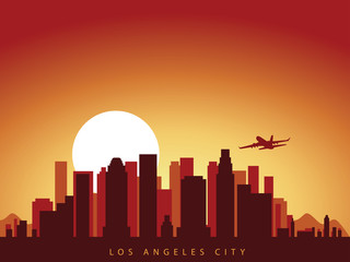 vector background design city skyline of los angeles in california america with airplane flying above the city and sun rise