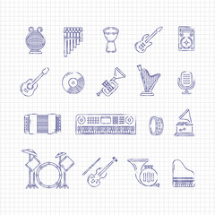 Music concert instruments thin line vector icons