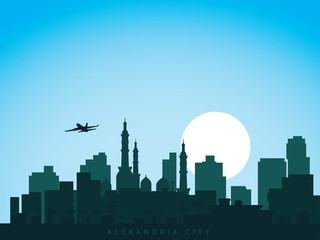 vector background design city skyline of alexandria egypt with airplane flying above the city and sun rise