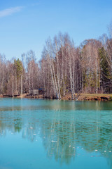 spring landscape, melting ice on a forest lake, clear water