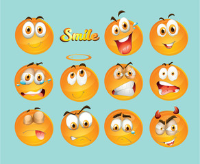 Collection of funny smiley icons set, art, design, logo, color, emoji,
