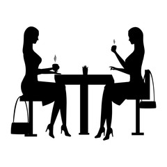 A woman sits in a cafe at a table and drinks a coffee. Black silhouette of a girl sitting at a table in a cafe. Vector illustration of people. Black icons. womans.